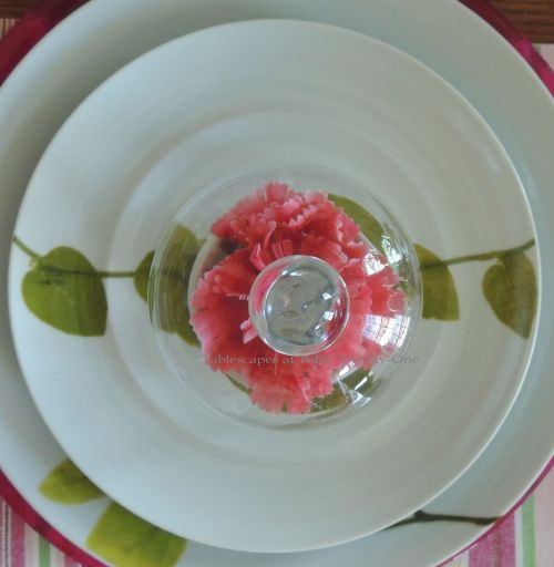 Tablescapes at Table Twenty-One, www.tabletwentyone.wordpress.com - All A'Bloom in Pink for Spring: Cloche bell jar on Mikasa Daylight china