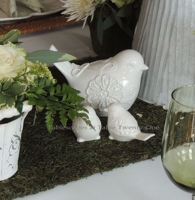 Tablescapes at Table Twenty-One, www.tabletwentyone.wordpress.com, Spring Green: Cluster of porcelain birds