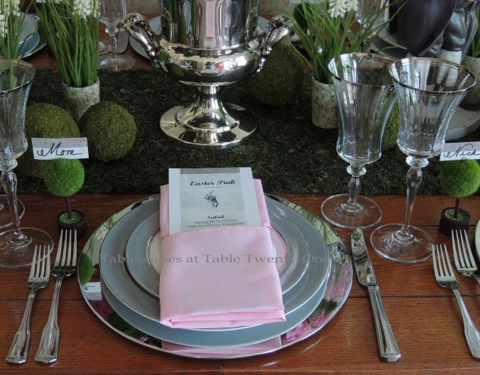 Tablescapes at Tale Twenty-One, www.tabletwentyone.wordpress.com - Easter in Pink & Grey: Single place setting