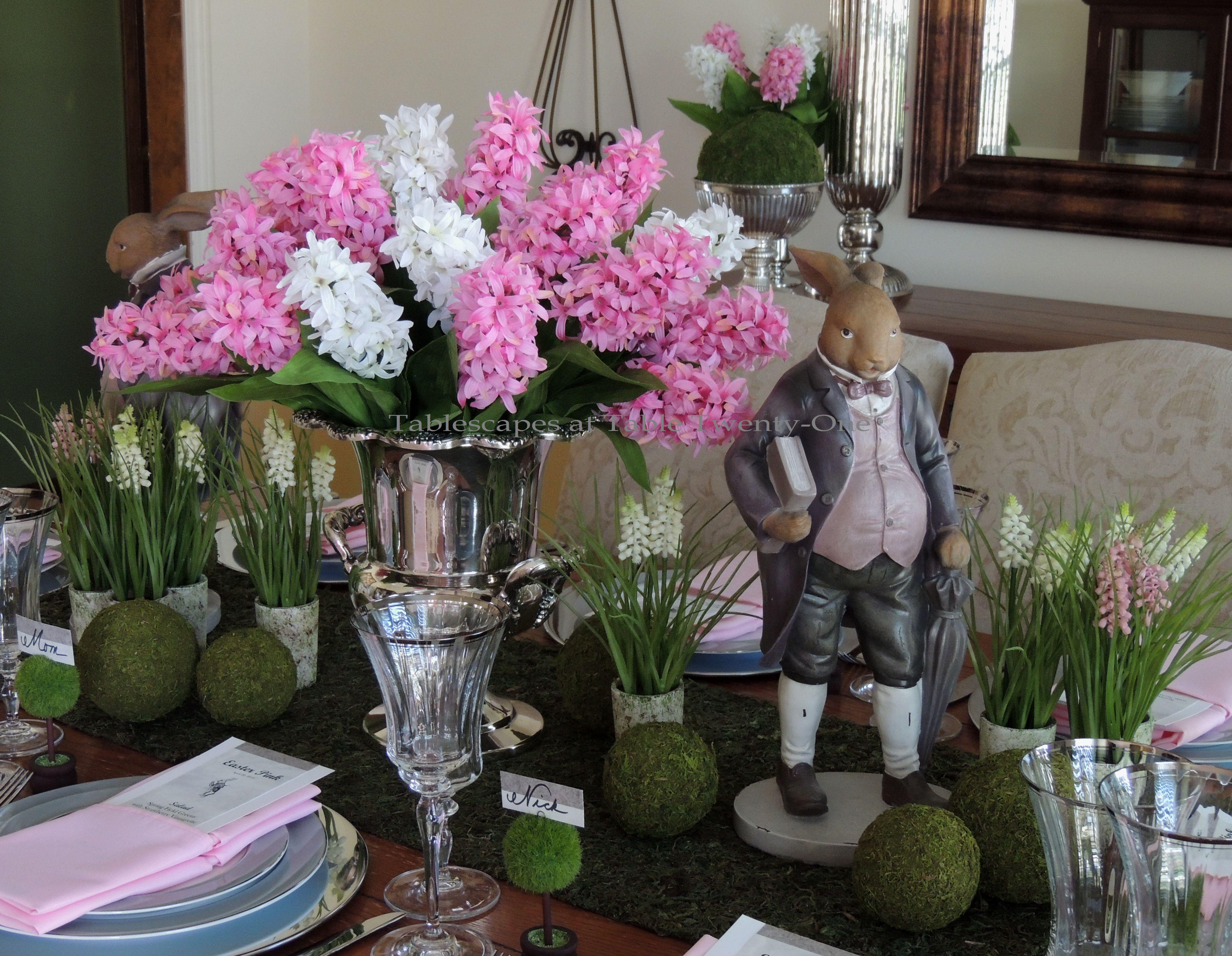 Tablescapes at Table Twenty-One, www.tabletwentyone.wordpress.com - Easter in Pink & Grey: Full centerpiece