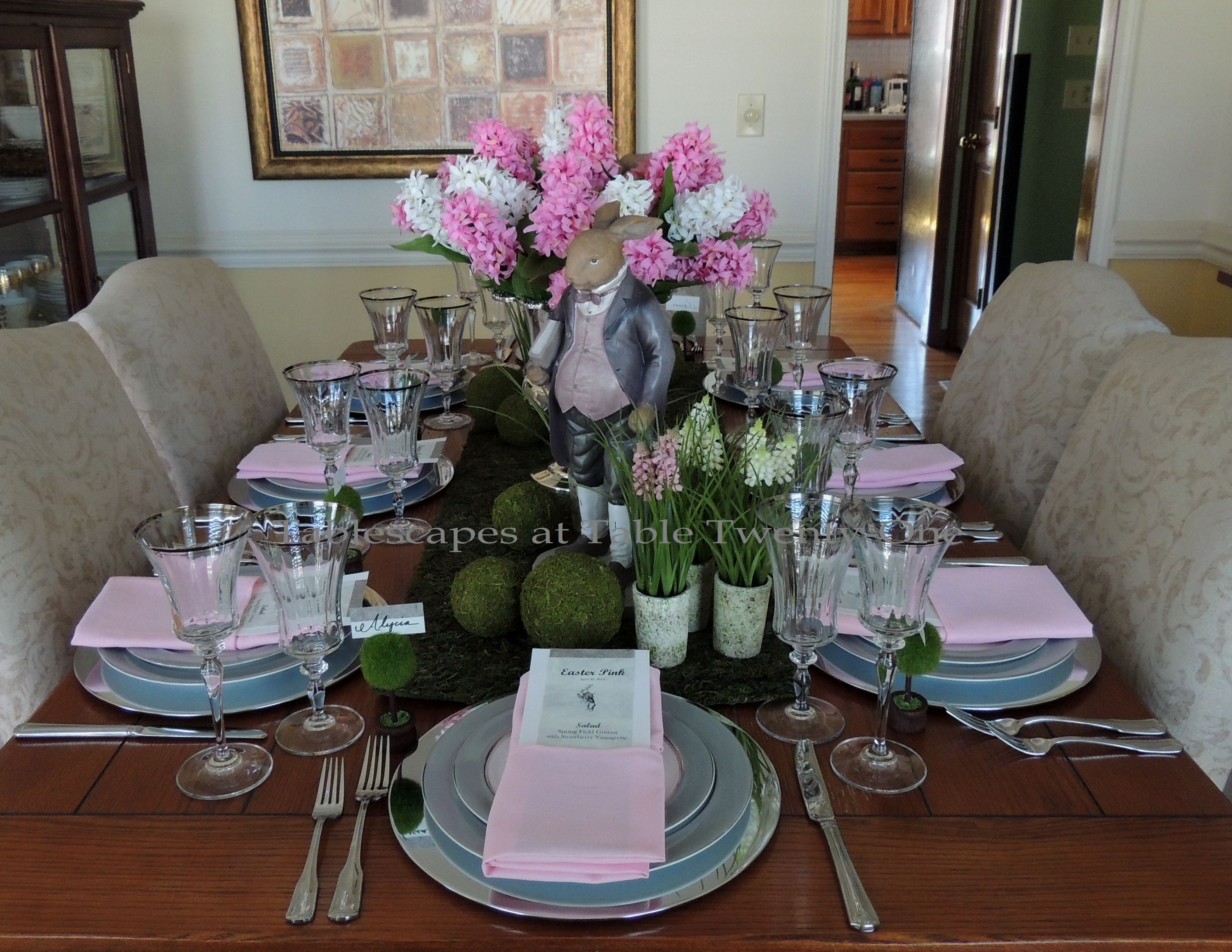 Tablescapes at Table Twenty-One, www.tabletwentyone.wordpress.com - Easter in Pink & Grey: Full table lengthwise