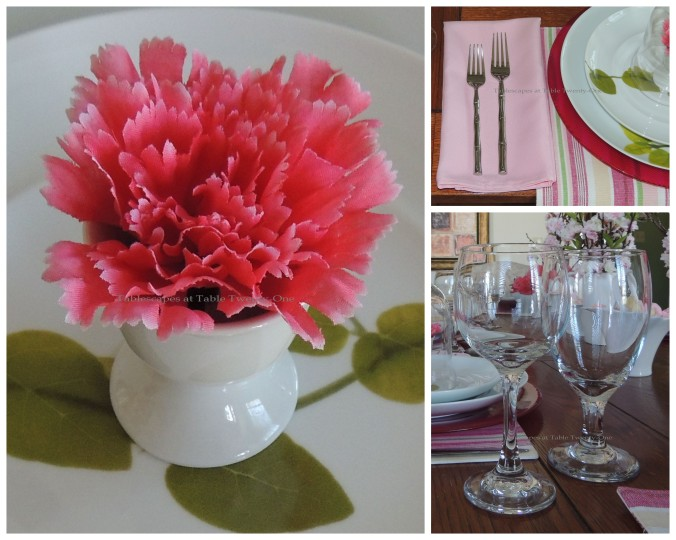 Tablescapes at Table Twenty-One, www.tabletwentyone.wordpress.com - All A'Bloom in Pink for Spring: Carnation in white egg cup, flatware, stemware collage