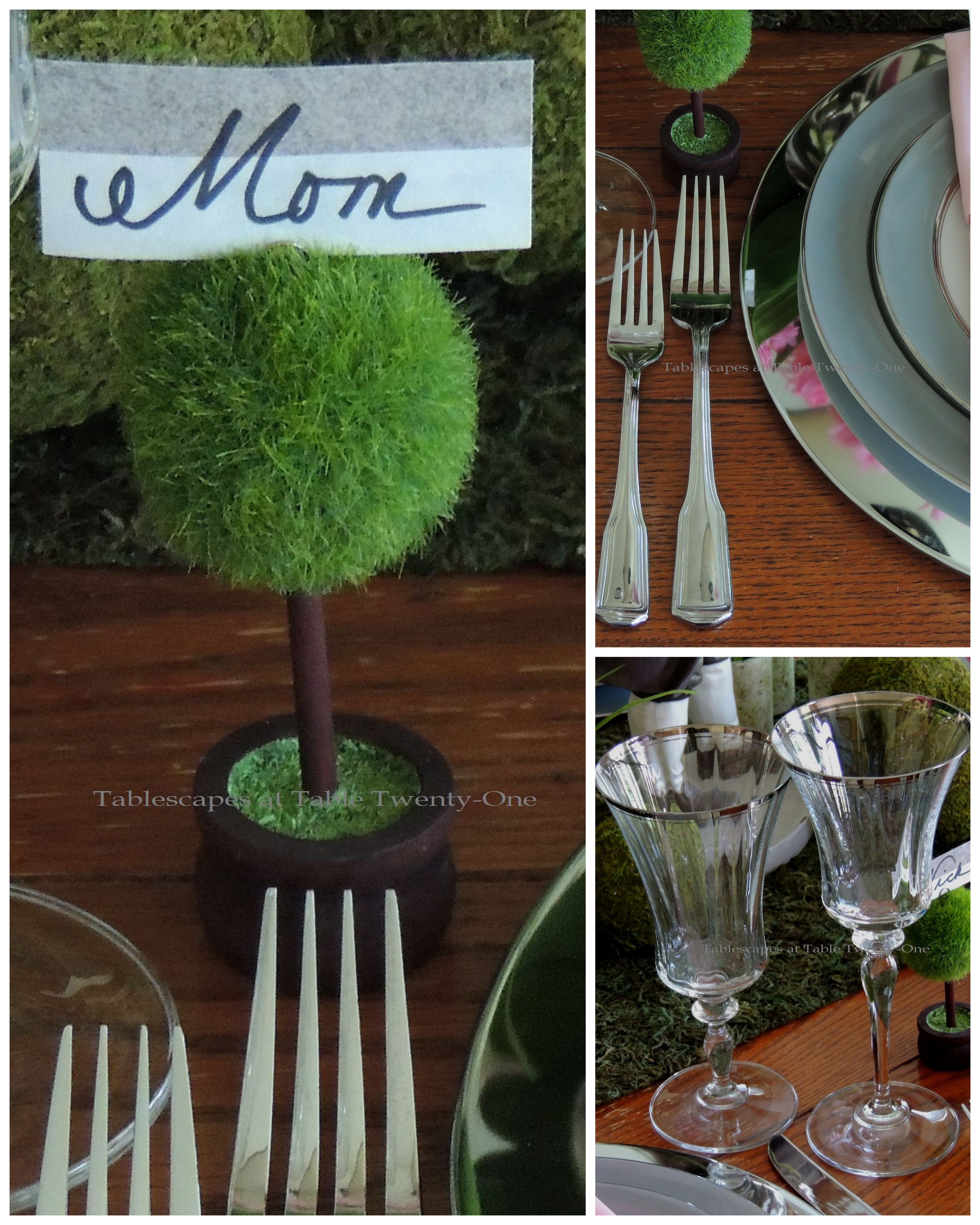 Tablescapes at Table Twenty-One, www.tabletwentyone.wordpress.com - Easter in Pink & Grey: Flatware/place card holder/stemware collage