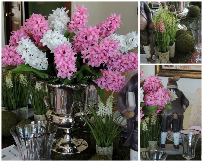Tablescapes at Table Twenty-One, www.tabletwentyone.wordpress.com - Easter in Pink & Grey: centerpiece collage