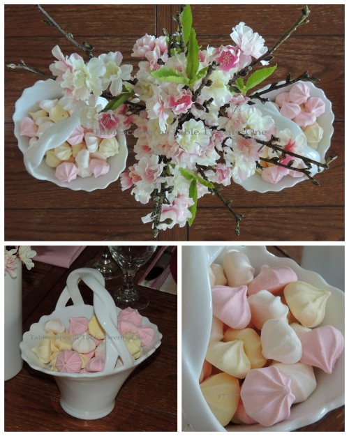 Tablescapes at Table Twenty-One, www.tabletwentyone.wordpress.com - All A'Bloom in Pink for Spring: cherry blossom branches and meringue candies collage