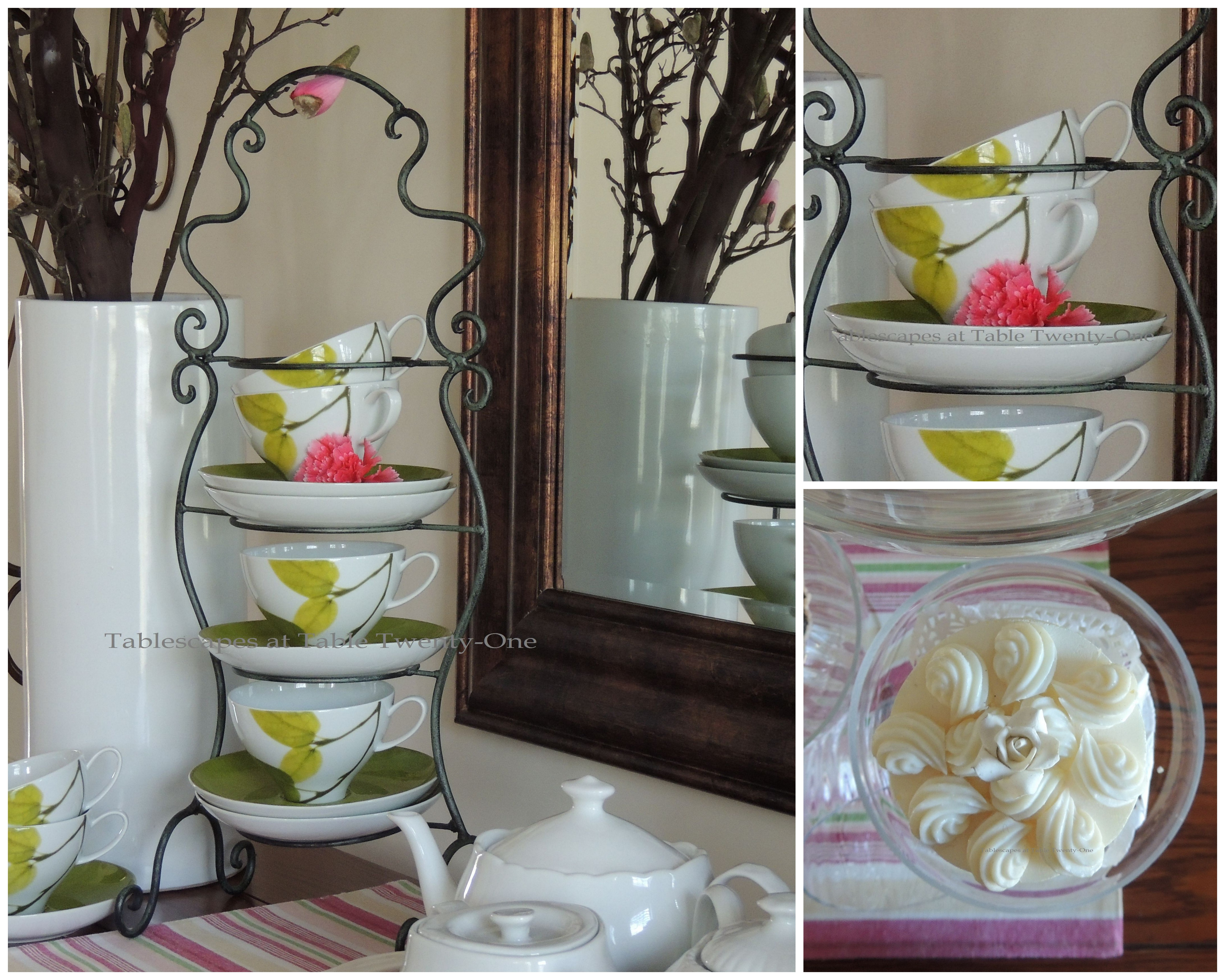 Tablescapes at Table Twenty-One, www.tabletwentyone.wordpress.com - All A'Bloom in Pink for Spring: Mikasa Daylight teacups & saucers collage