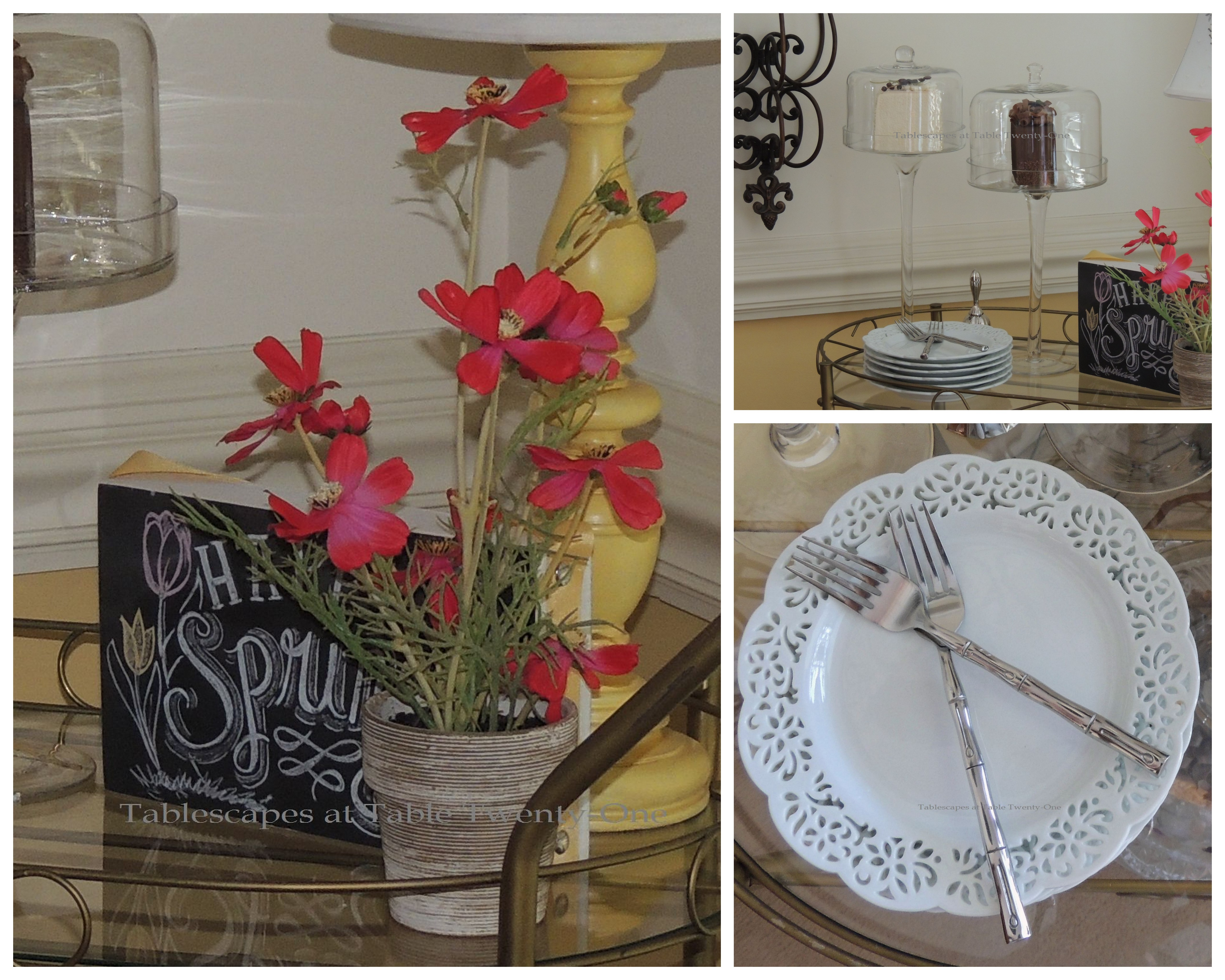 Tablescapes at Table Twenty-One, www.tabletwentyone.wordpress.com - All A'Bloom in Pink for Spring: tea cart collage