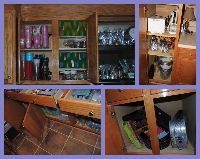 Each of the 8 cabinets and 8 drawers is filled with casual dishware, stemware, flatware, and/or serviceware.