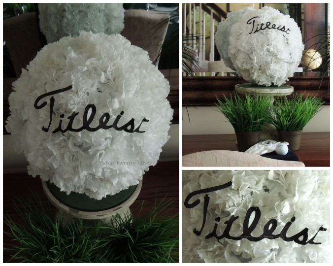 Tablescapes at Table Twenty-One, www.tabletwentyone.wordpress.com,The 19th Hole – Golf & Eternal Love:  Carnation Titleist golf ball collage