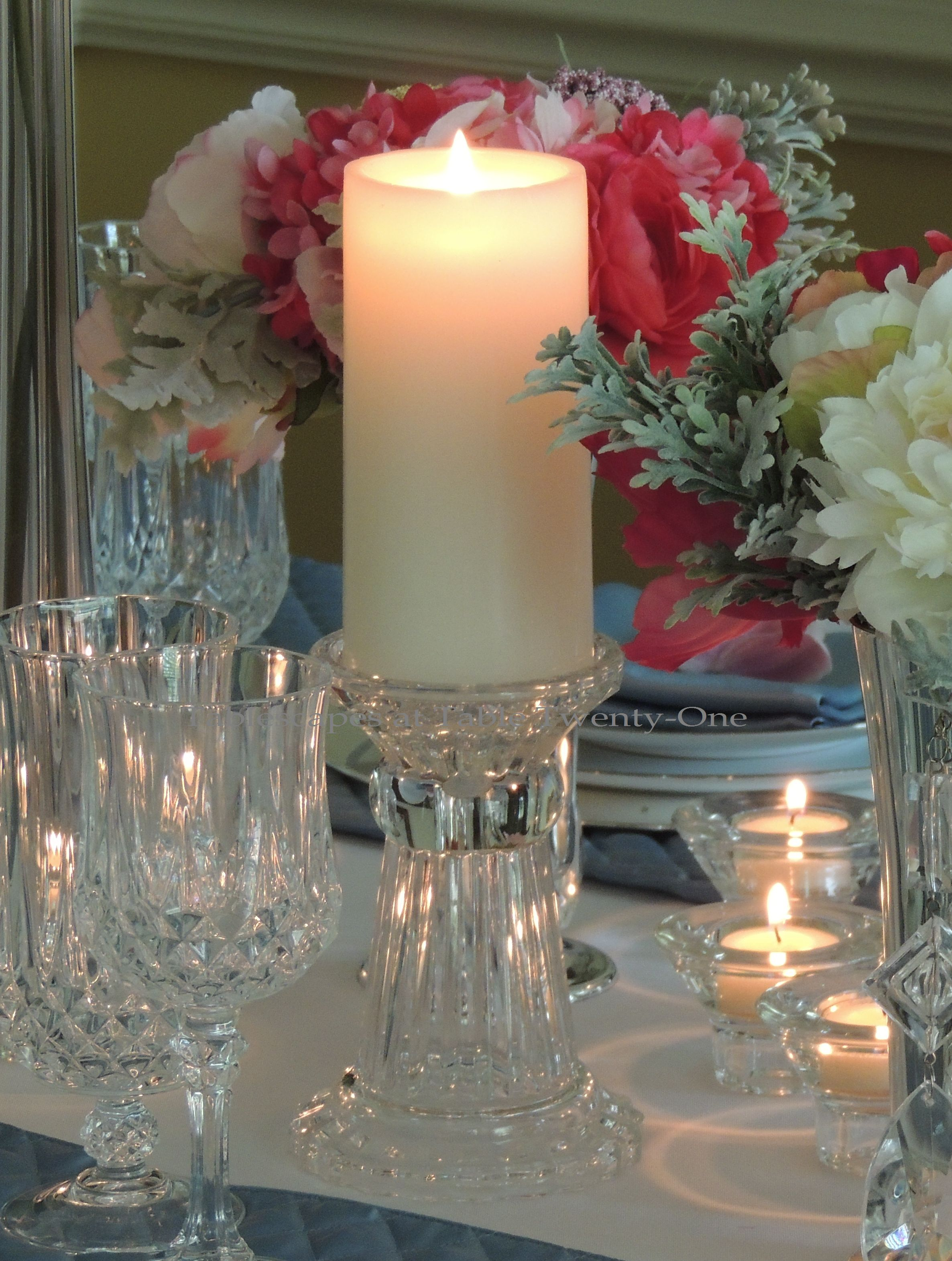 Tablescapes at Table Twenty-One, www.tabletwentyone.wordpress.com: My Sister's Wedding China - white pillar candle on crystal Mikasa candlestick