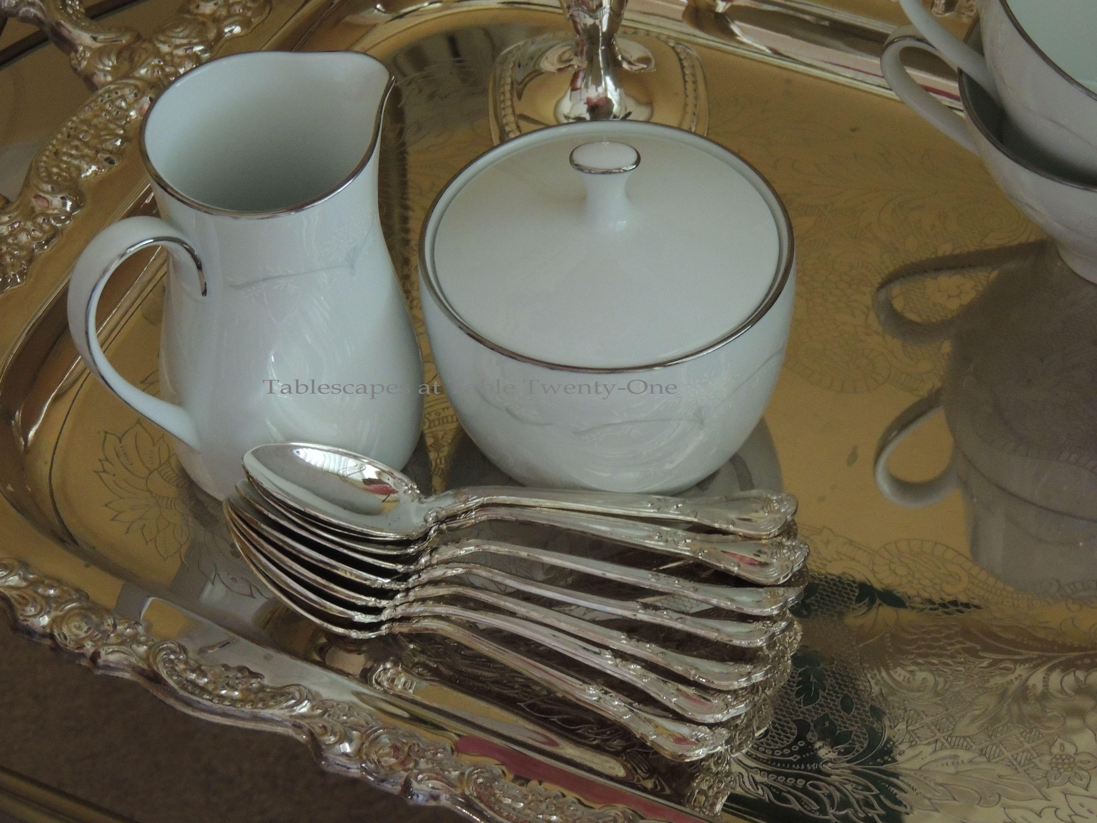 "Tablescapes at Table Twenty-One, www.tabletwentyone.wordpress.com: My Sister's Wedding China - Noritake ""Whitebrook"" creamer & sugar"