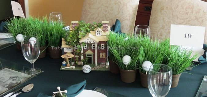 "Tablescapes at Table Twenty-One, www.tabletwentyone.wordpress.com,The 19th Hole – Golf & Eternal Love:  Customized ""19th Hole"" golf clubhouse miniature centerpiece"