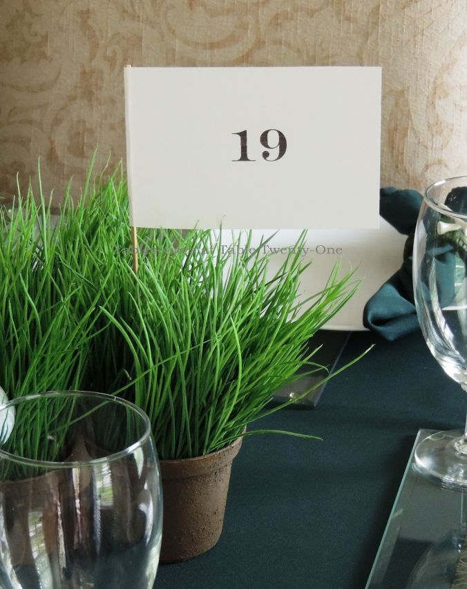 Tablescapes at Table Twenty-One, www.tabletwentyone.wordpress.com,The 19th Hole – Golf & Eternal Love:  Golf flags in pots of faux grass
