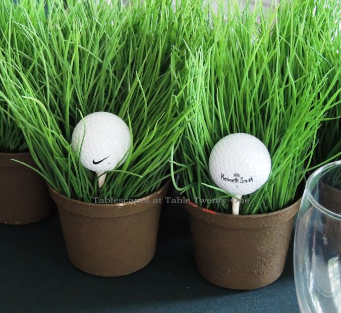 Tablescapes at Table Twenty-One, www.tabletwentyone.wordpress.com,The 19th Hole – Golf & Eternal Love:  Golf balls on tees in faux grass