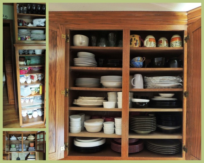 "The miniature ""pantry"" in the kitchen (upper left) is filled with china and accessories. The adjacent glass-front cabinet holds a part of my melamine collection and a few tureens. Cabinets across the room are filled like the one on the upper right with various plates, bowl, mugs and casual dining drinkware."