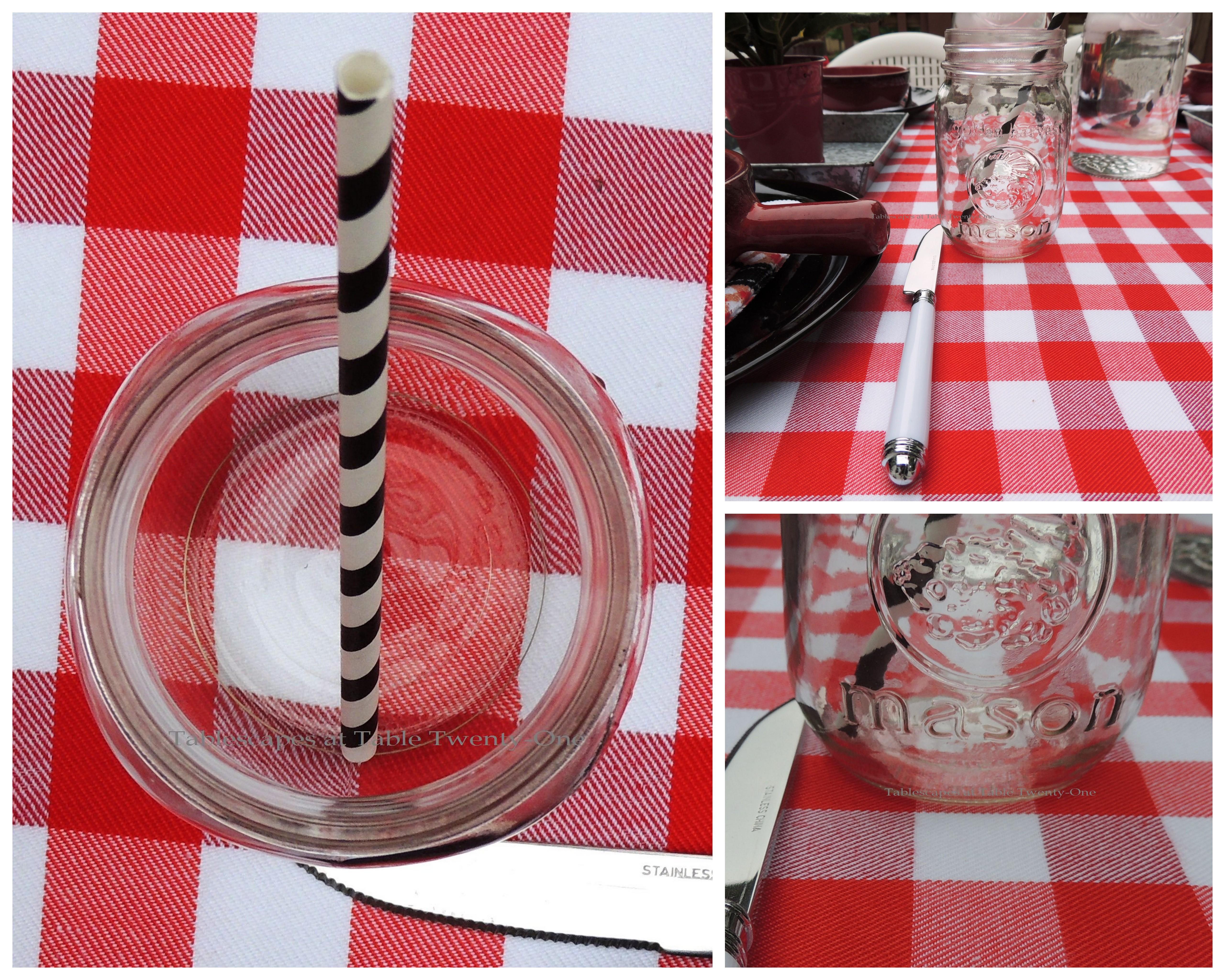 Tablescapes at Table Twenty-One, www.tabletwentyone.wordpress.com: Grill It Up! - Mason jar collage