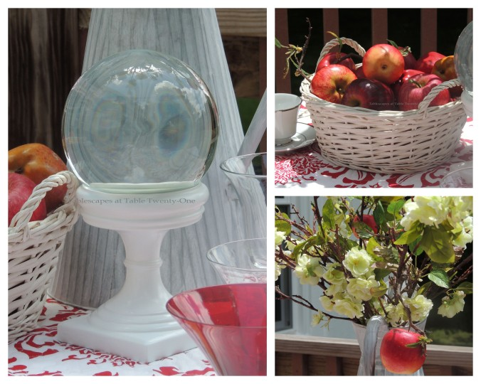 Tablescapes at Table Twenty-One, www.tabletwentyone.wordpress.com, Midsummer Shabby Chic Apple Tablescape: Centerpiece collage