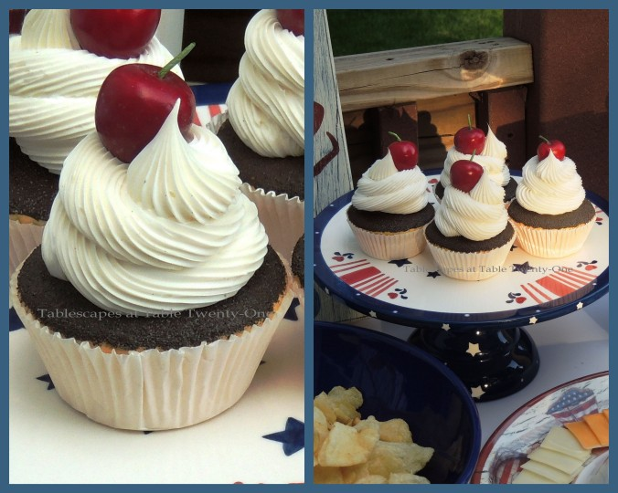 Tablescapes at Table Twenty-One, www.tabletwentyone.wordpress.com, 4th of July Coastal Style: Cupcakes on patriotic ceramic cake stand collage