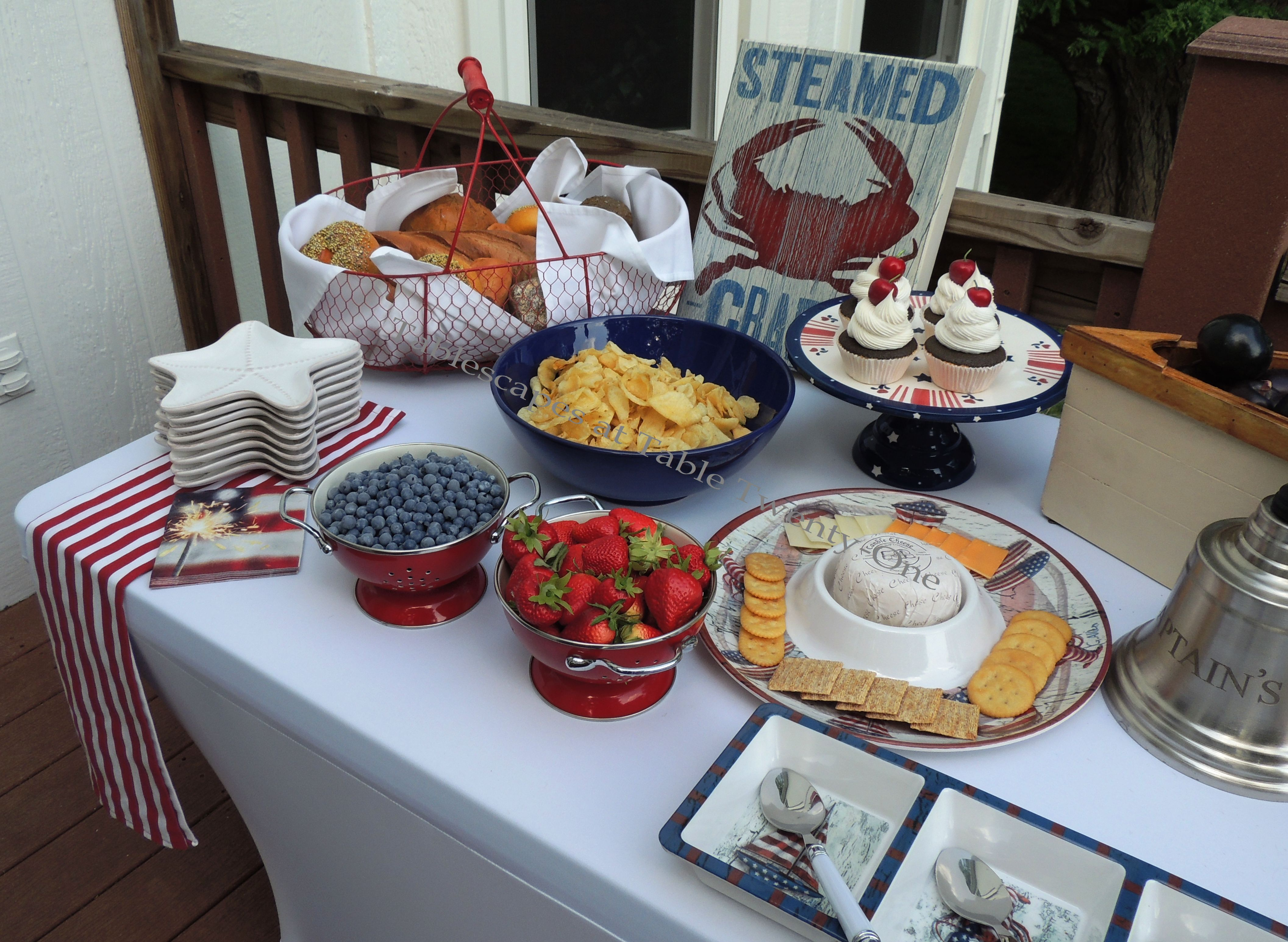 Tablescapes at Table Twenty-One, www.tabletwentyone.wordpress.com, 4th of July Coastal Style: partial buffet table