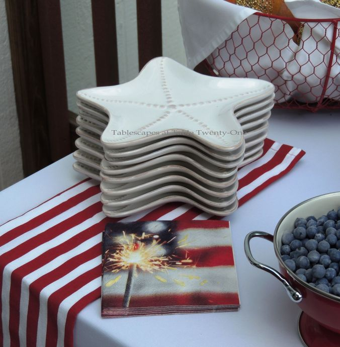 Tablescapes at Table Twenty-One, www.tabletwentyone.wordpress.com, 4th of July Coastal Style: starfish-shaped ceramic plates, patriotic paper cocktail napkins