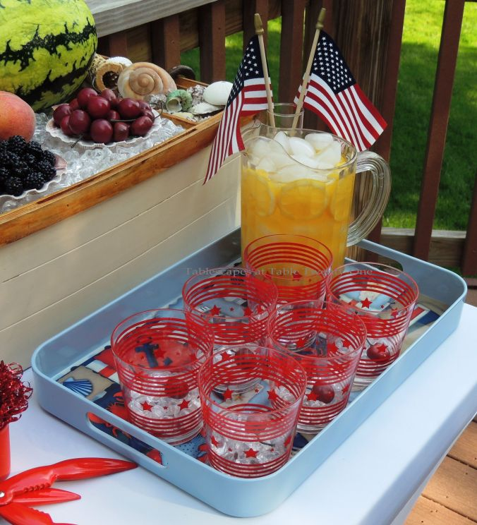 Tablescapes at Table Twenty-One, www.tabletwentyone.wordpress.com, 4th of July Coastal Style: drink tray