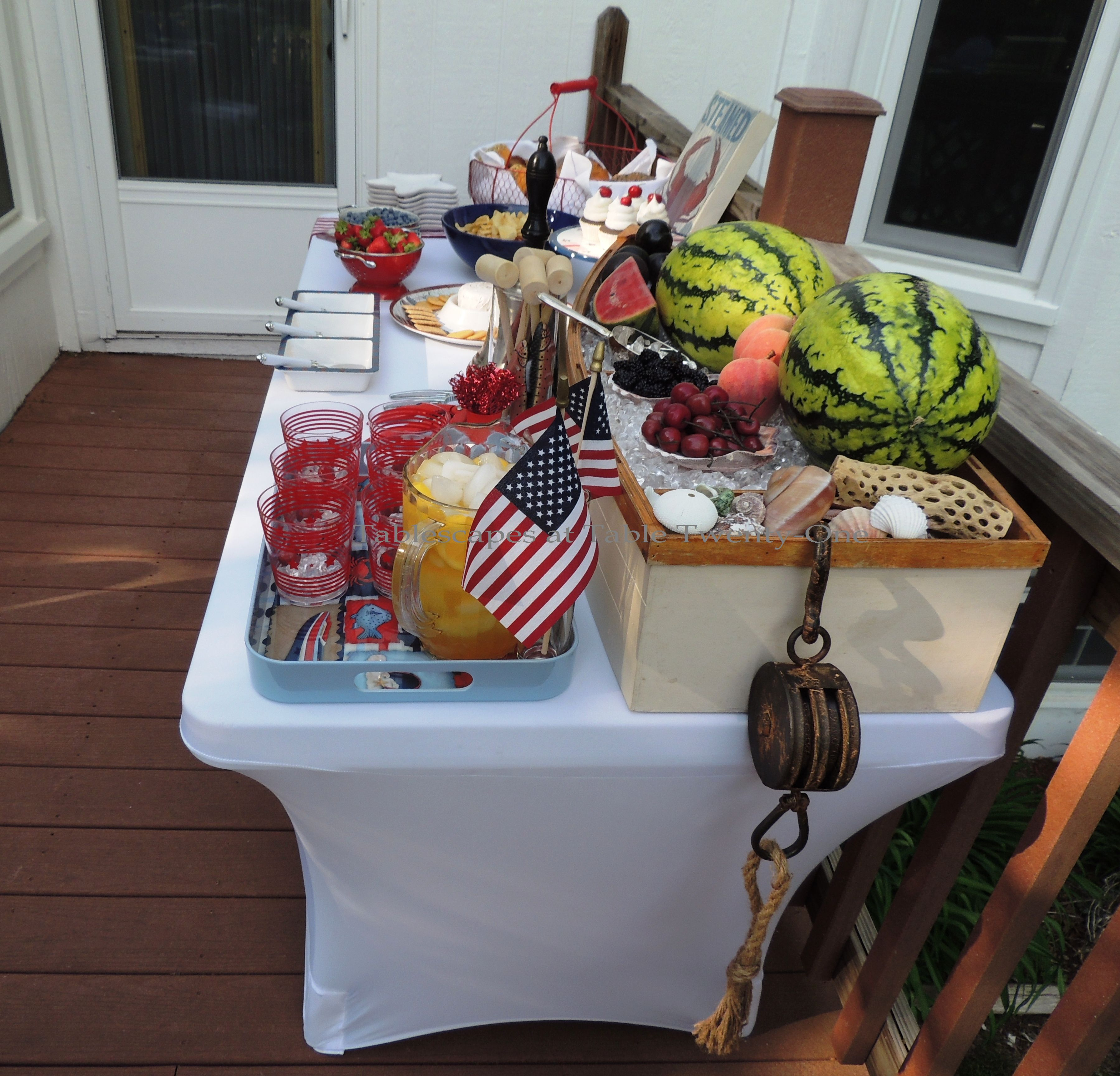 Tablescapes at Table Twenty-One, www.tabletwentyone.wordpress.com, 4th of July Coastal Style: buffet table