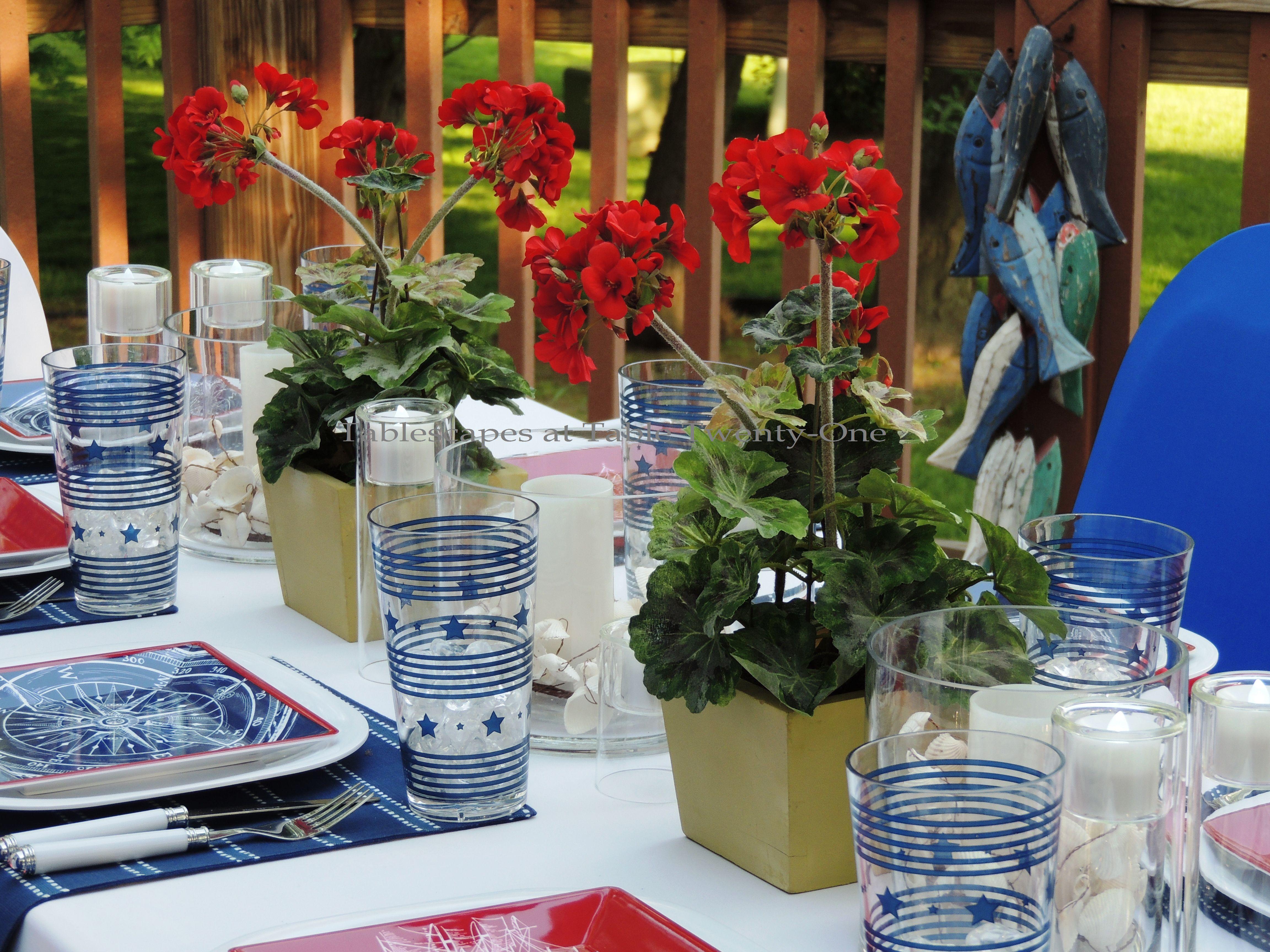 Tablescapes at Table Twenty-One, www.tabletwentyone.wordpress.com, 4th of July Coastal Style: red geranium centerpiece