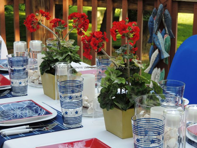 Tablescapes at Table Twenty-One, www.tabletwentyone.wordpress.com, 4th of July Coastal Style: red geranium centerpiece