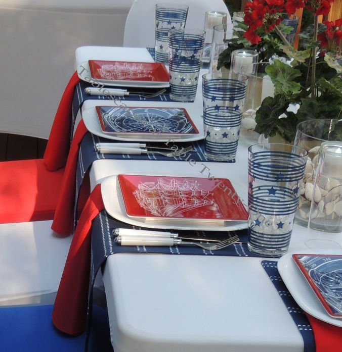 Tablescapes at Table Twenty-One, www.tabletwentyone.wordpress.com, 4th of July Coastal Style: multiple place settings