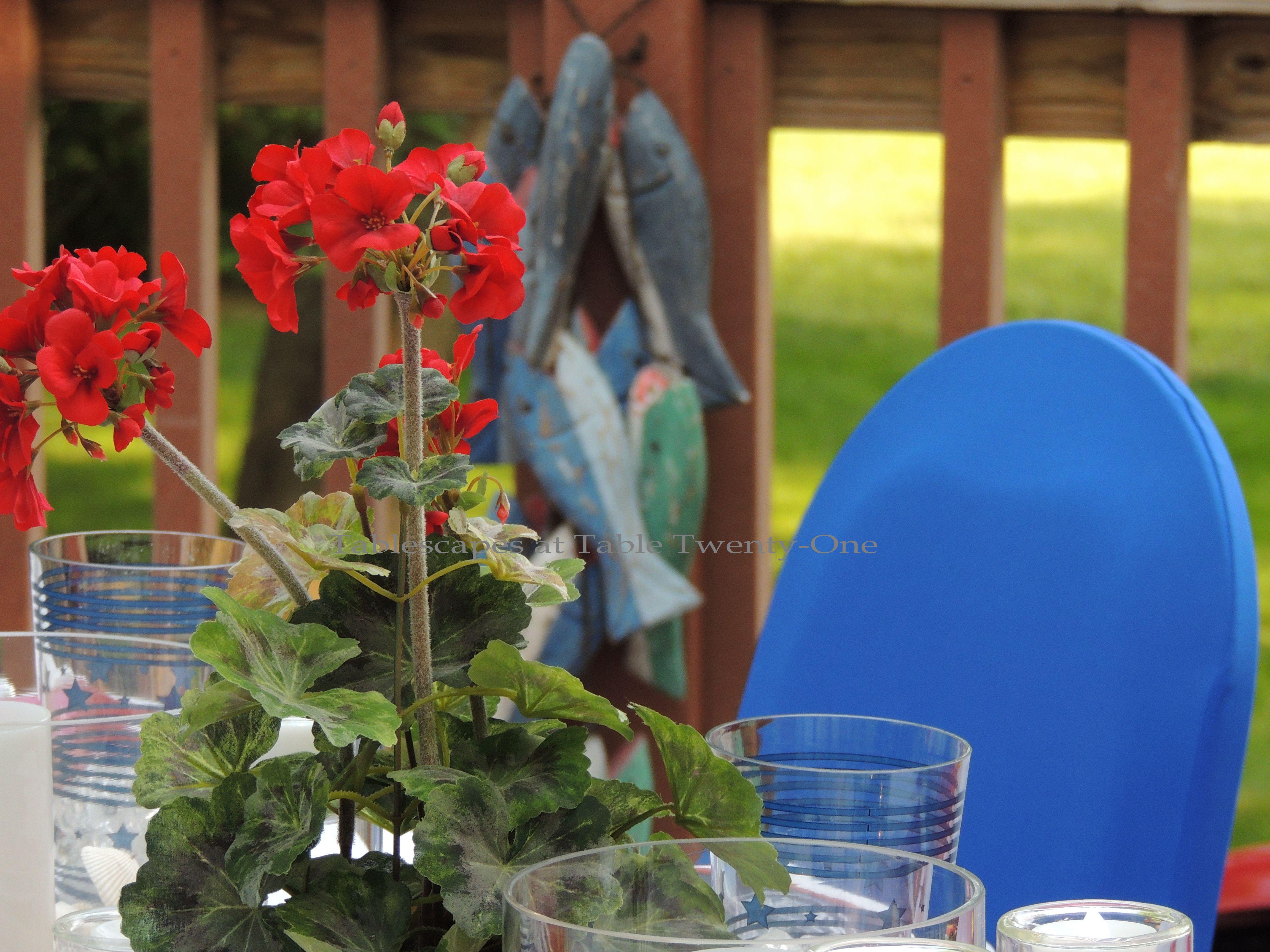 Tablescapes at Table Twenty-One, www.tabletwentyone.wordpress.com, 4th of July Coastal Style: red geranium