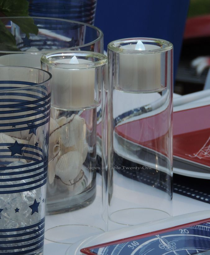 Tablescapes at Table Twenty-One, www.tabletwentyone.wordpress.com, 4th of July Coastal Style: Tall cylinder votive holders