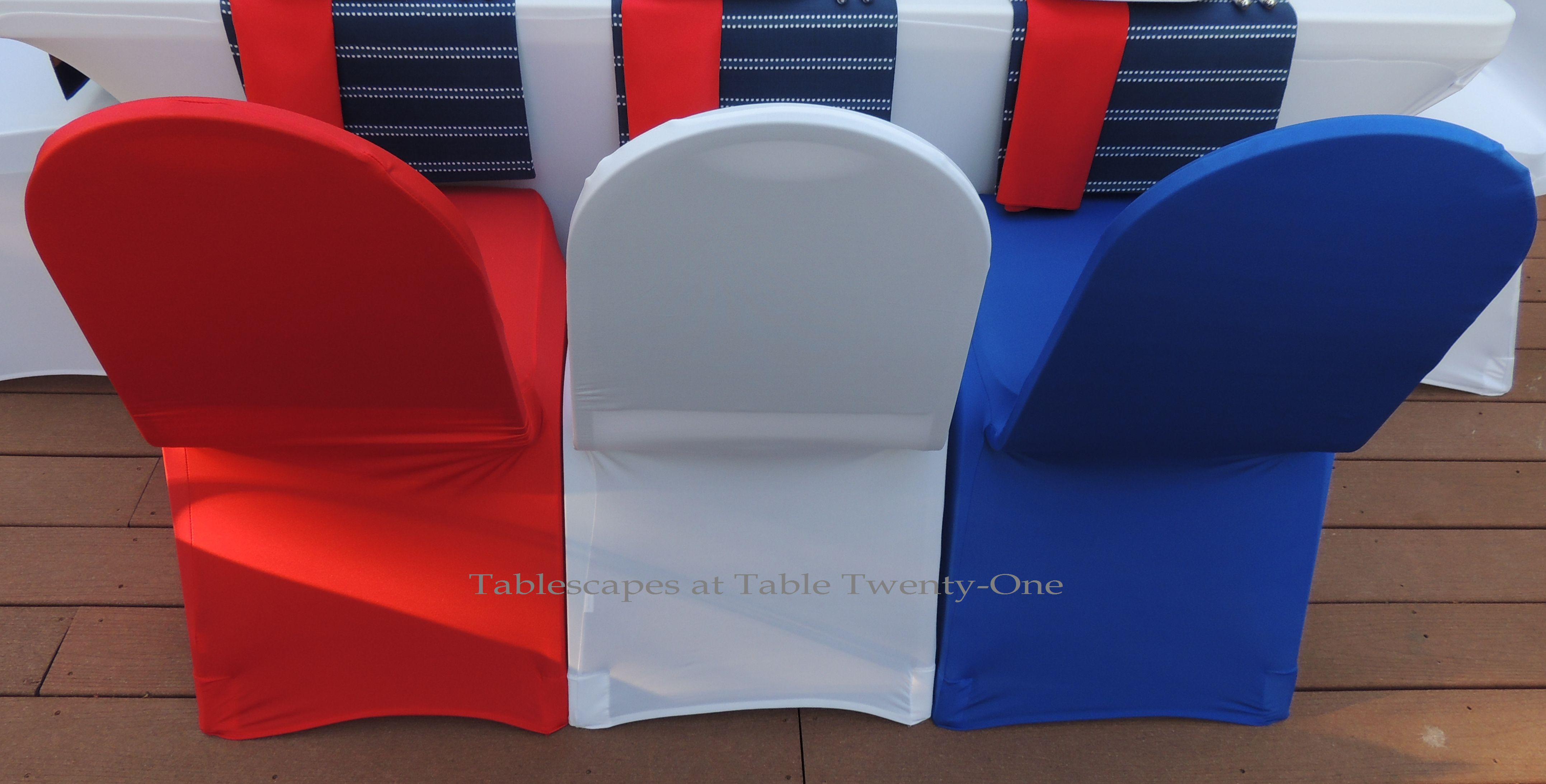 Tablescapes at Table Twenty-One, www.tabletwentyone.wordpress.com, 4th of July Coastal Style: red, white & blue stretch chair covers from LinenTablecloth.com