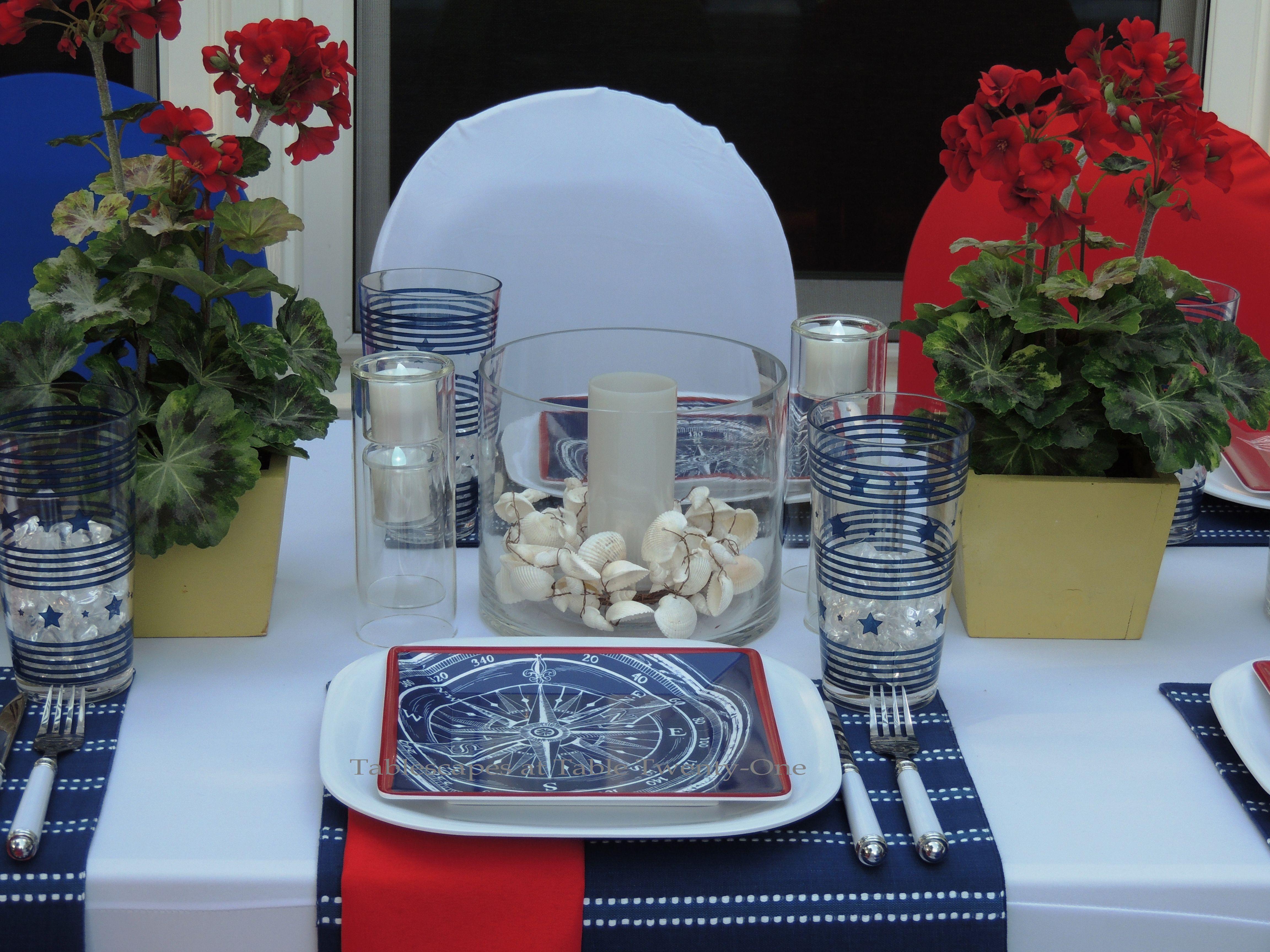 Tablescapes at Table Twenty-One, www.tabletwentyone.wordpress.com, 4th of July Coastal Style: single place setting