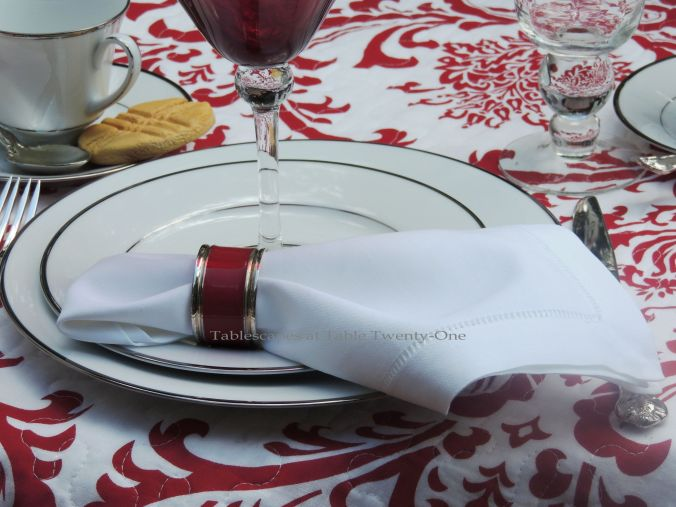 Tablescapes at Table Twenty-One, www.tabletwentyone.wordpress.com, Midsummer Shabby Chic Apple Tablescape: white cotton hemstitched napkin with red & silver napkin ring