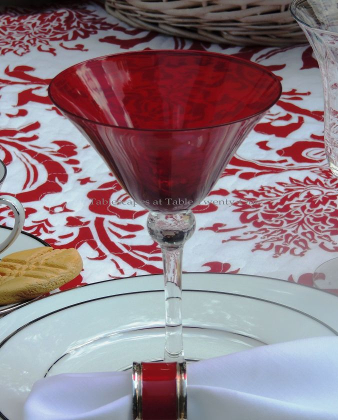 Tablescapes at Table Twenty-One, www.tabletwentyone.wordpress.com, Midsummer Shabby Chic Apple Tablescape: red martini glass from Pier 1 used for fruit compote