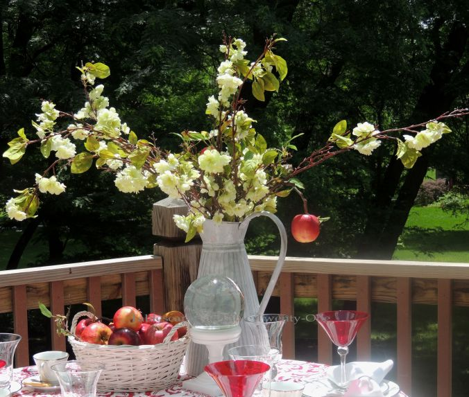 Tablescapes at Table Twenty-One, www.tabletwentyone.wordpress.com, Midsummer Shabby Chic Apple Tablescape: full centerpiece