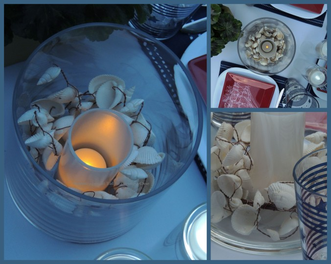 Tablescapes at Table Twenty-One, www.tabletwentyone.wordpress.com, 4th of July Coastal Style: glass cylinder with LED candle and seashell candle ring collage