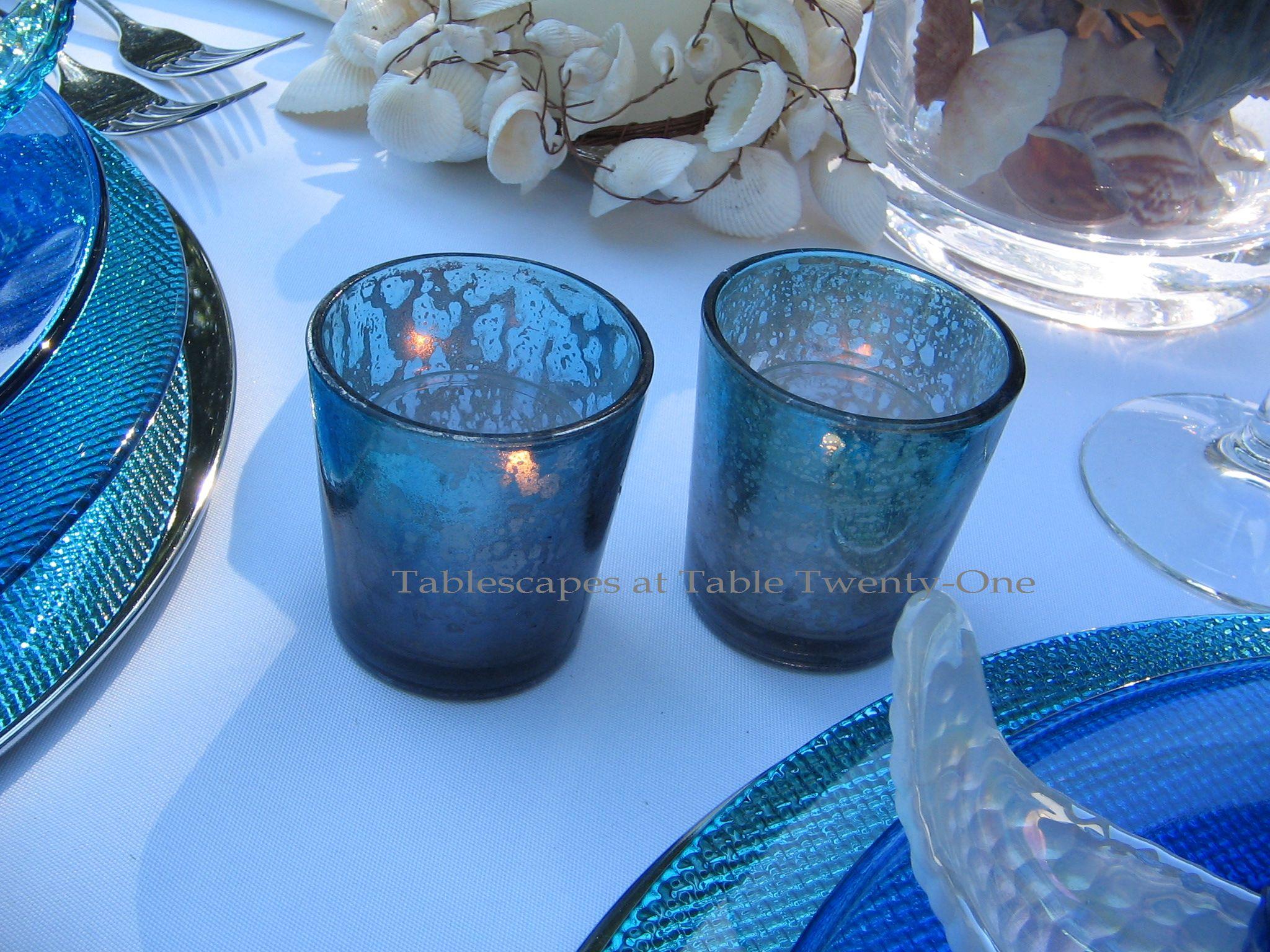 Tablescapes at Table Twenty-One, www.tabletwentyone.wordpress.com, Ocean Blue – Starfish & Seashells:  turquoise, cobalt blue  & silver mercury glass votive holders