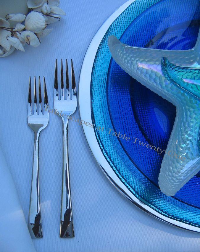 "Tablescapes at Table Twenty-One, www.tabletwentyone.wordpress.com, Ocean Blue – Starfish & Seashells: J.A. Henckels ""Bellaserra"" stainless flatware"