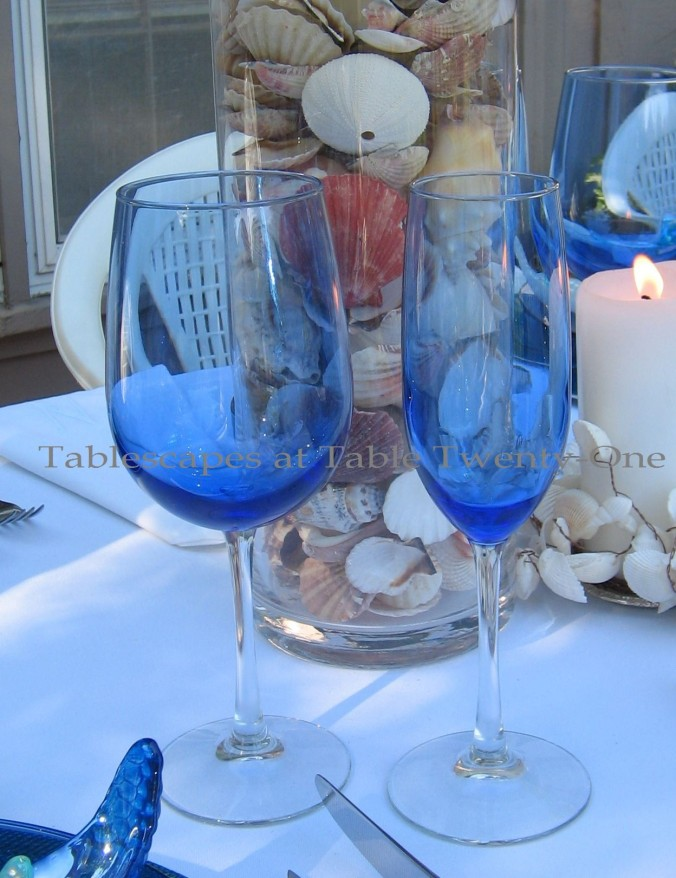 Tablescapes at Table Twenty-One, www.tabletwentyone.wordpress.com, Ocean Blue – Starfish & Seashells:  Cobalt blue stemware from Dollar Tree