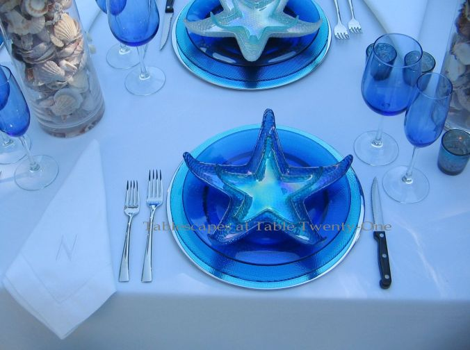 Tablescapes at Table Twenty-One, www.tabletwentyone.wordpress.com, Ocean Blue – Starfish & Seashells:  Single place setting with glass starfish plates, Rocco Bormioli glass chargers