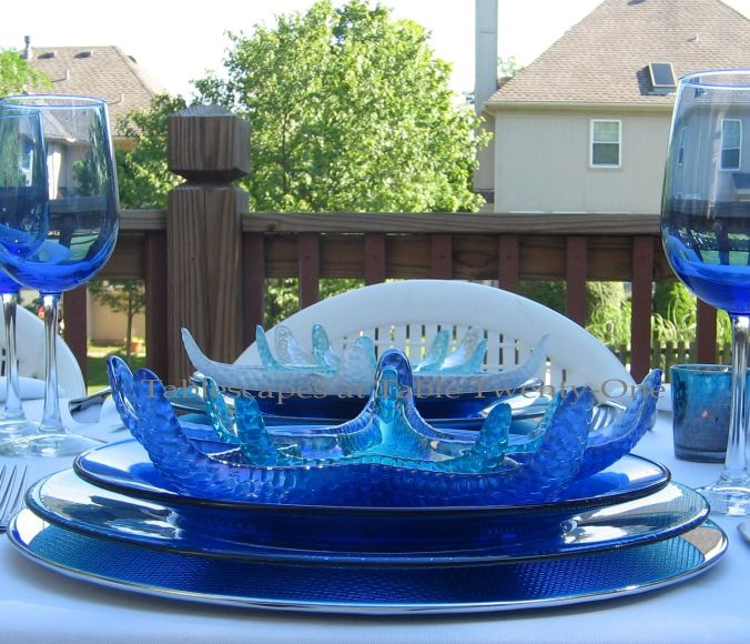 Tablescapes at Table Twenty-One, www.tabletwentyone.wordpress.com, Ocean Blue – Starfish & Seashells:  Brilliant glass starfish plates in shades of blue or white from Home Goods
