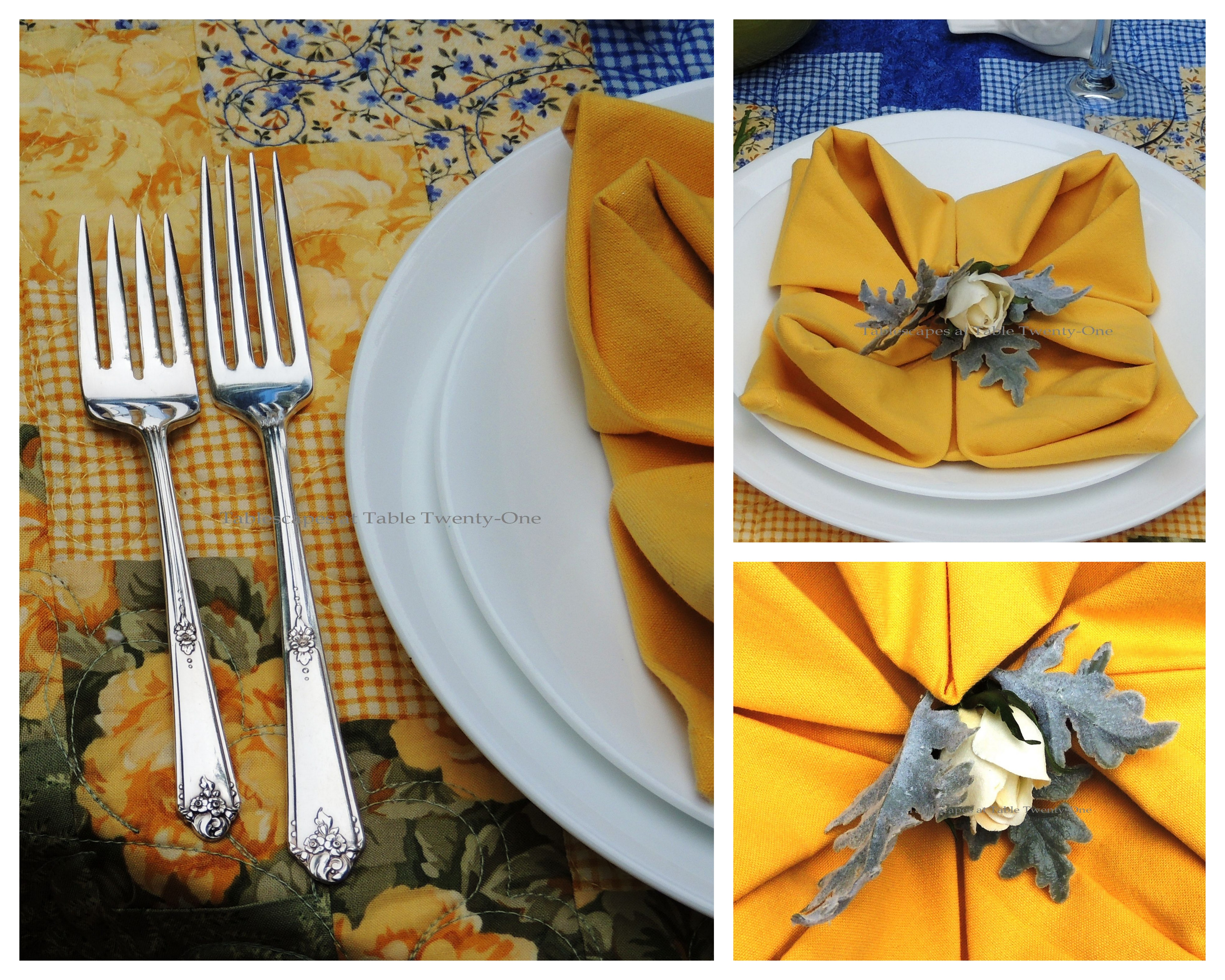 Tablescapes at Table Twenty-One, www.tabletwentyone.wordpress.com, Summer Luncheon for Two: Napkin & flatware collage