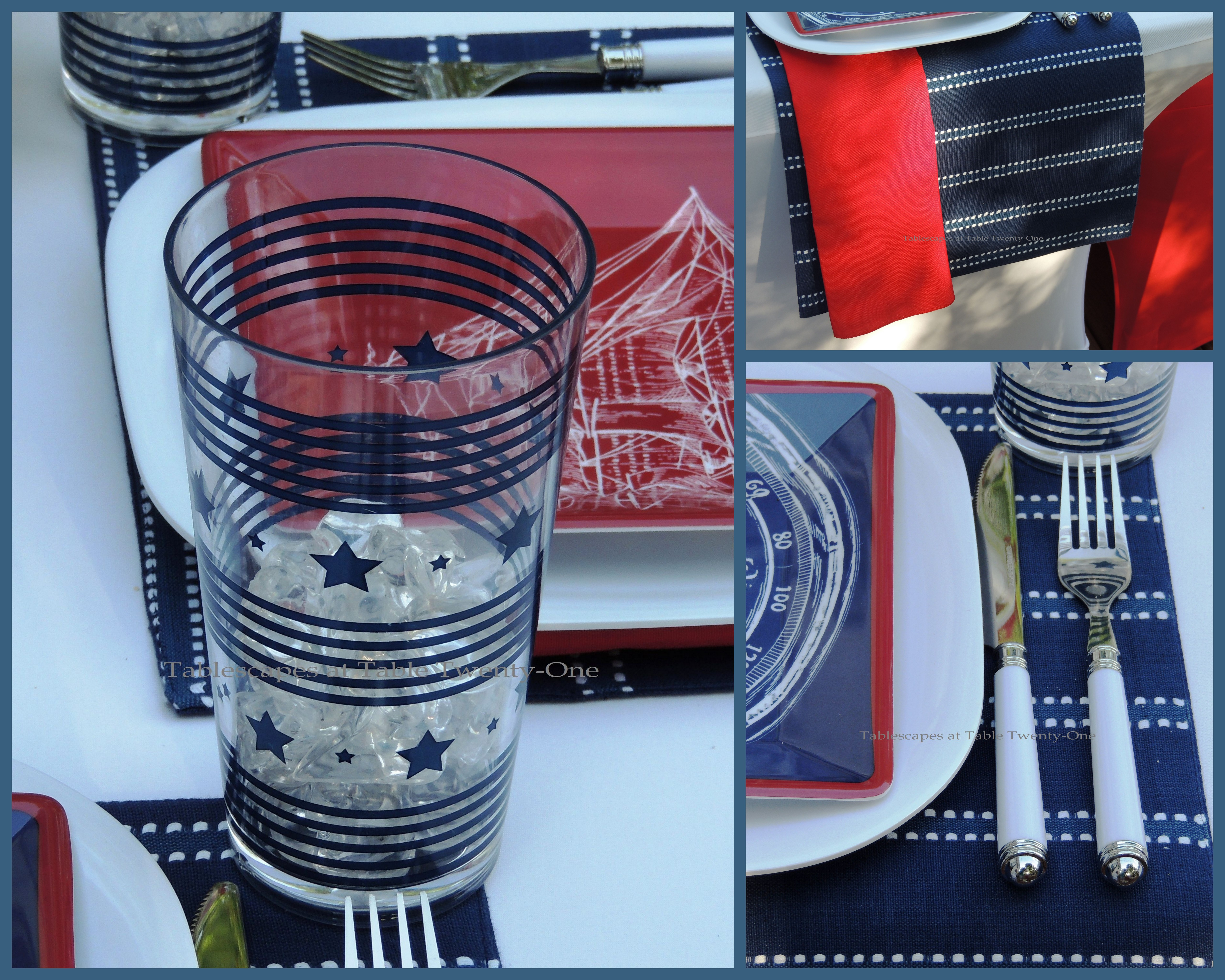 Tablescapes at Table Twenty-One, www.tabletwentyone.wordpress.com, 4th of July Coastal Style: red napkin, navy & white striped placemat, flatware, stars & stripes tumbler collage