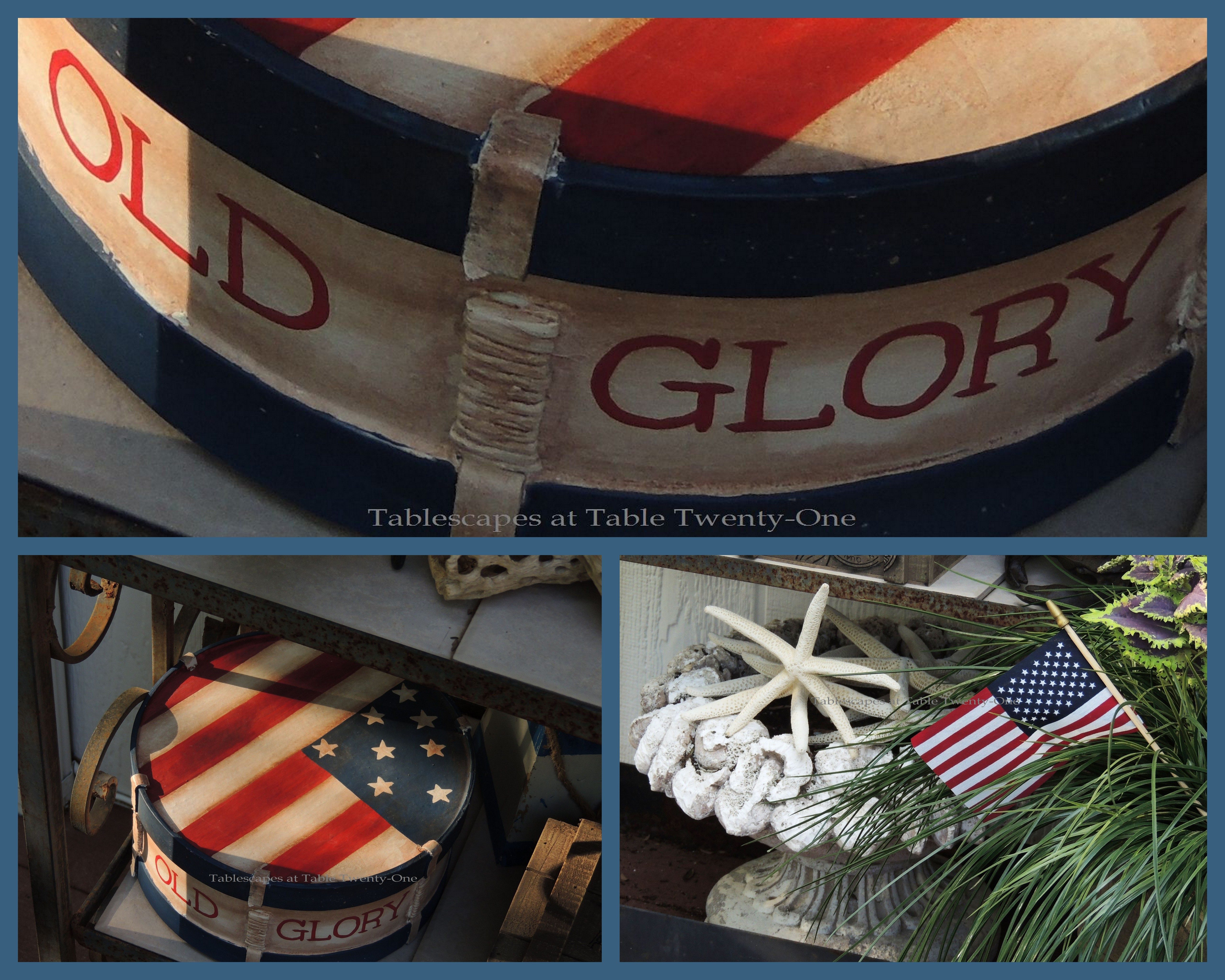 Tablescapes at Table Twenty-One, www.tabletwentyone.wordpress.com, 4th of July Coastal Style: Old Glory wooden box, starfish in planter collage