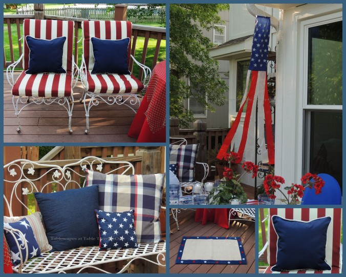Tablescapes at Table Twenty-One, www.tabletwentyone.wordpress.com, 4th of July Coastal Style: Patriotic pillows on settee, chairs, rug, wind sock collage