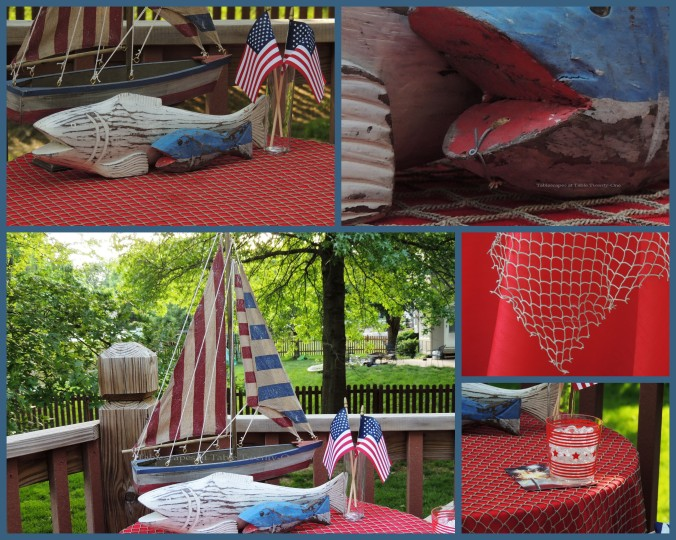 Tablescapes at Table Twenty-One, www.tabletwentyone.wordpress.com, 4th of July Coastal Style: Patriotic sailboat, wooden fish, cocktail, fishnet overlay collage