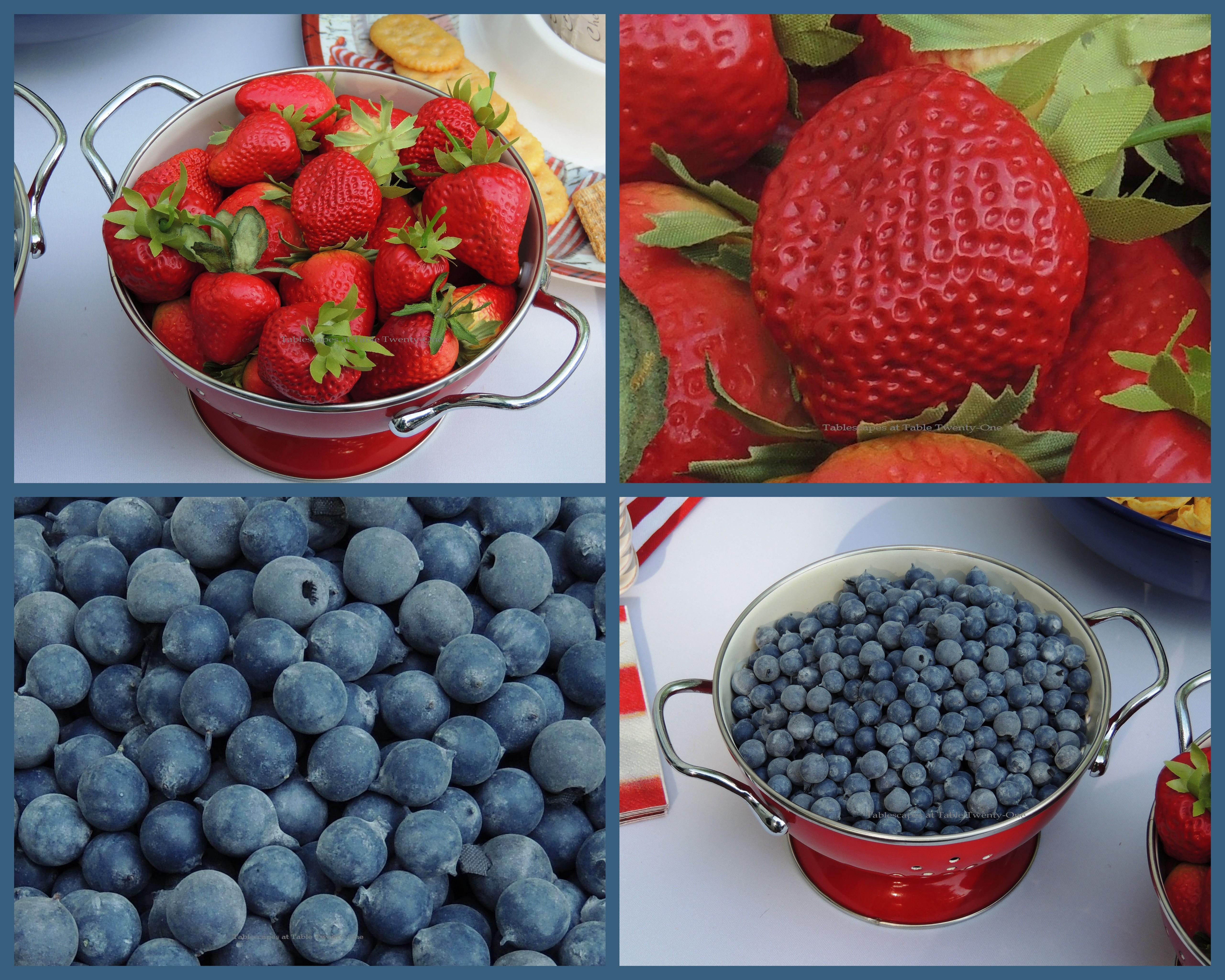 Tablescapes at Table Twenty-One, www.tabletwentyone.wordpress.com, 4th of July Coastal Style: strawberries & blueberries in red metal colanders