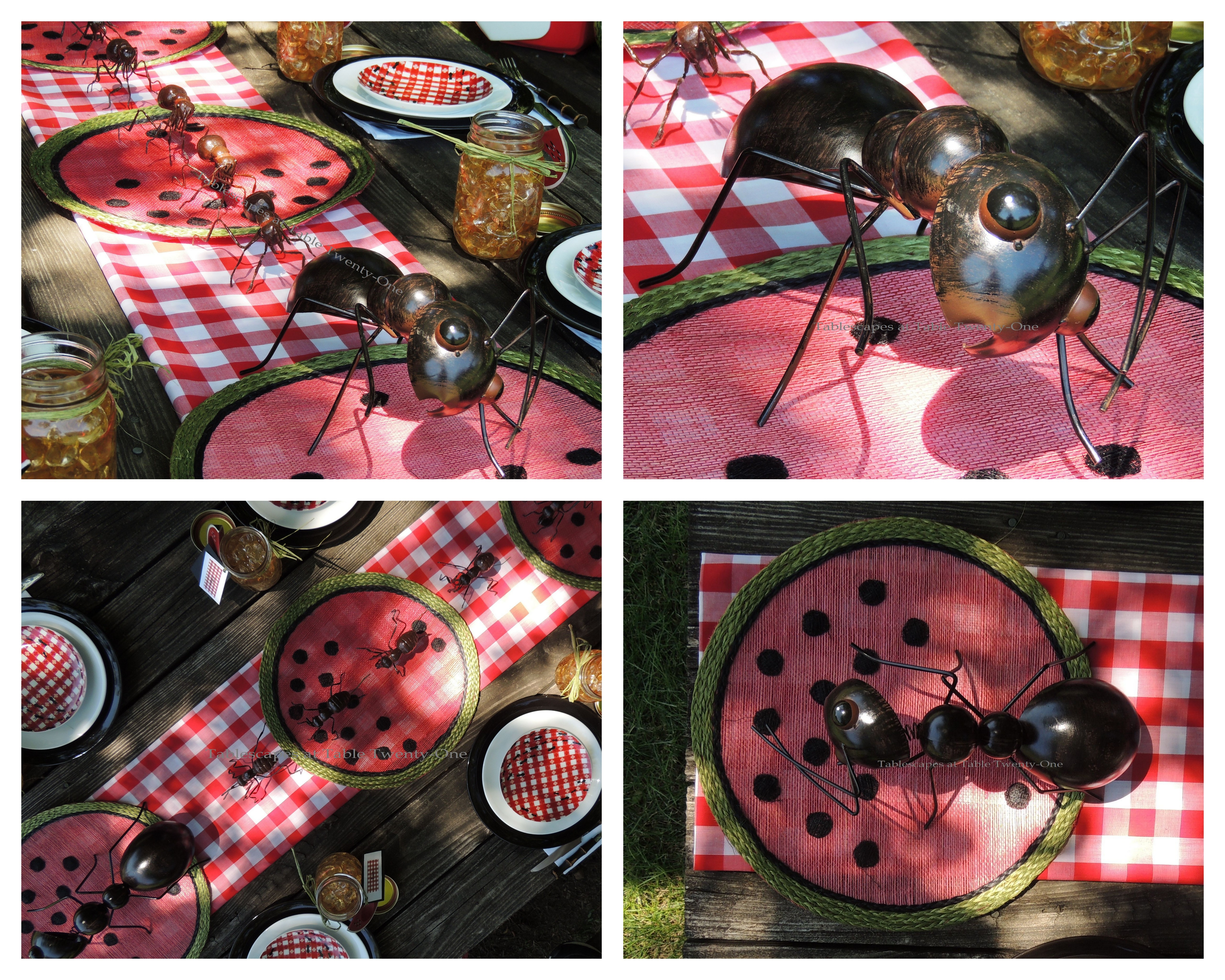 Tablescapes at Table Twenty-One, www.tabletwentyone.wordpress.com, Picnic Ants - Centerpiece picnic ants collage