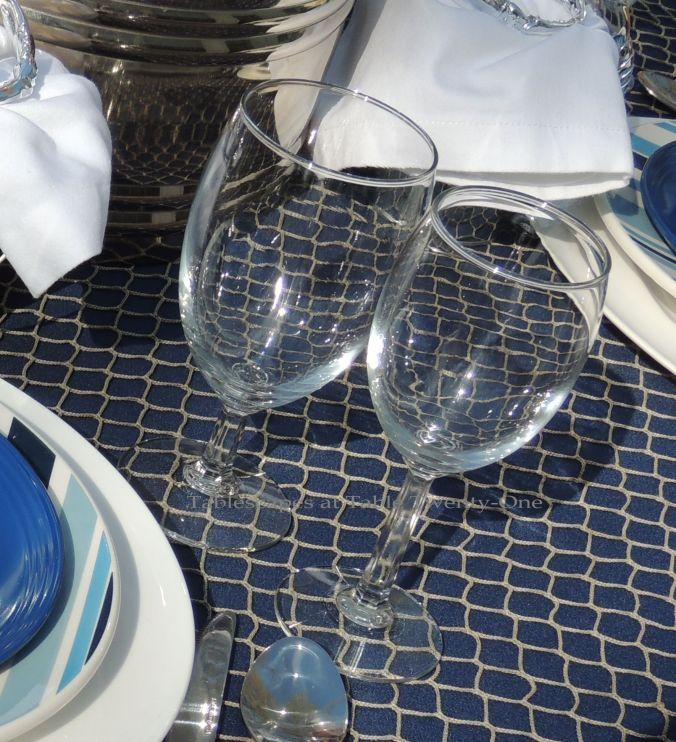 Tablescapes at Table Twenty-One, www.tabletwentyone.wordpress.com, Old Navy Seafood Boil - stemware